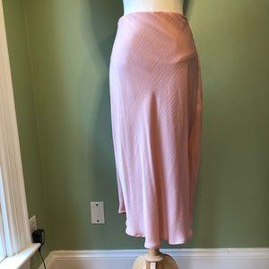 A New Day Soft Pink Bias Cut Midi Skirt